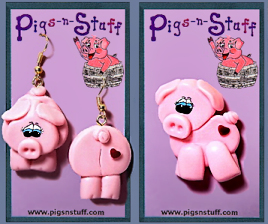PIG PIN AND EARRING SET