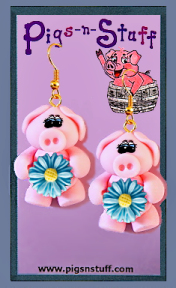 PIGS WITH DAISIES EARRINGS