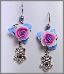 Roses and Pigs Earrings