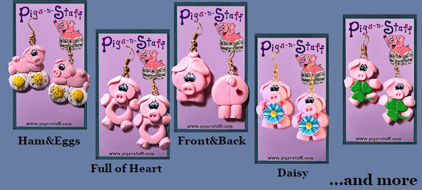 pig earrings and more