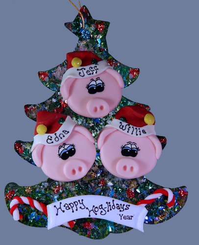 Pig Family Personalized Tree of 3