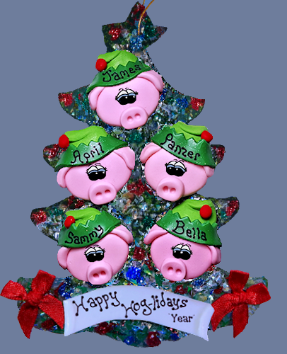 Pig Ornament Personalized Tree of 5
