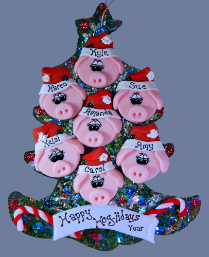 Pig Family Personalized Tree of 7