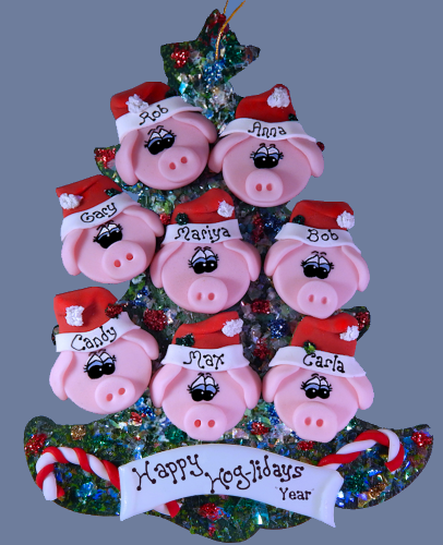 Pig Family Personalized Tree of 8